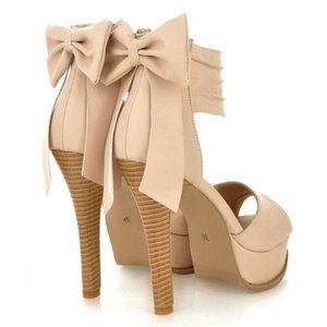 Shoes - Nude Bow Platform Heels Shoes 5 Inch Heels